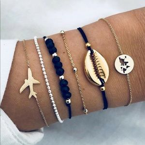 Cowrie Shell & Airplane Bracelet Set